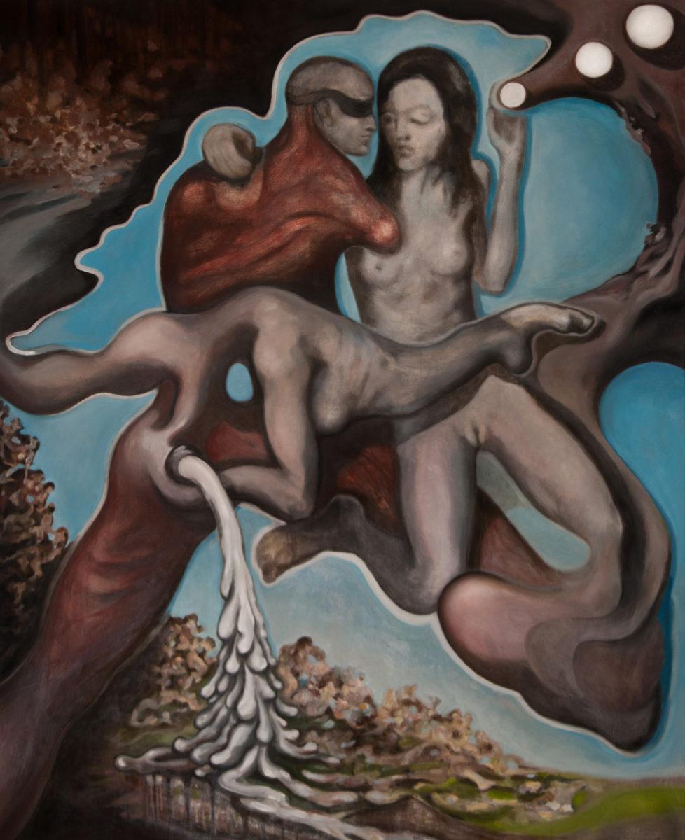 """David le Viseur, """"Loose Coupling"""", Oil on Canvas, 160x130cm, 2011"""