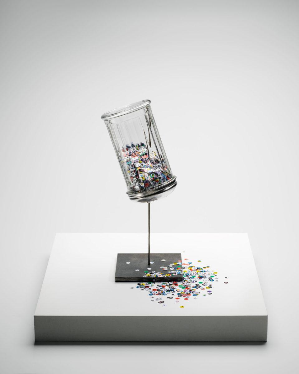 """David le Viseur, """"Relevance Dispenser"""", Object, 30x30x30cm, 2016"""