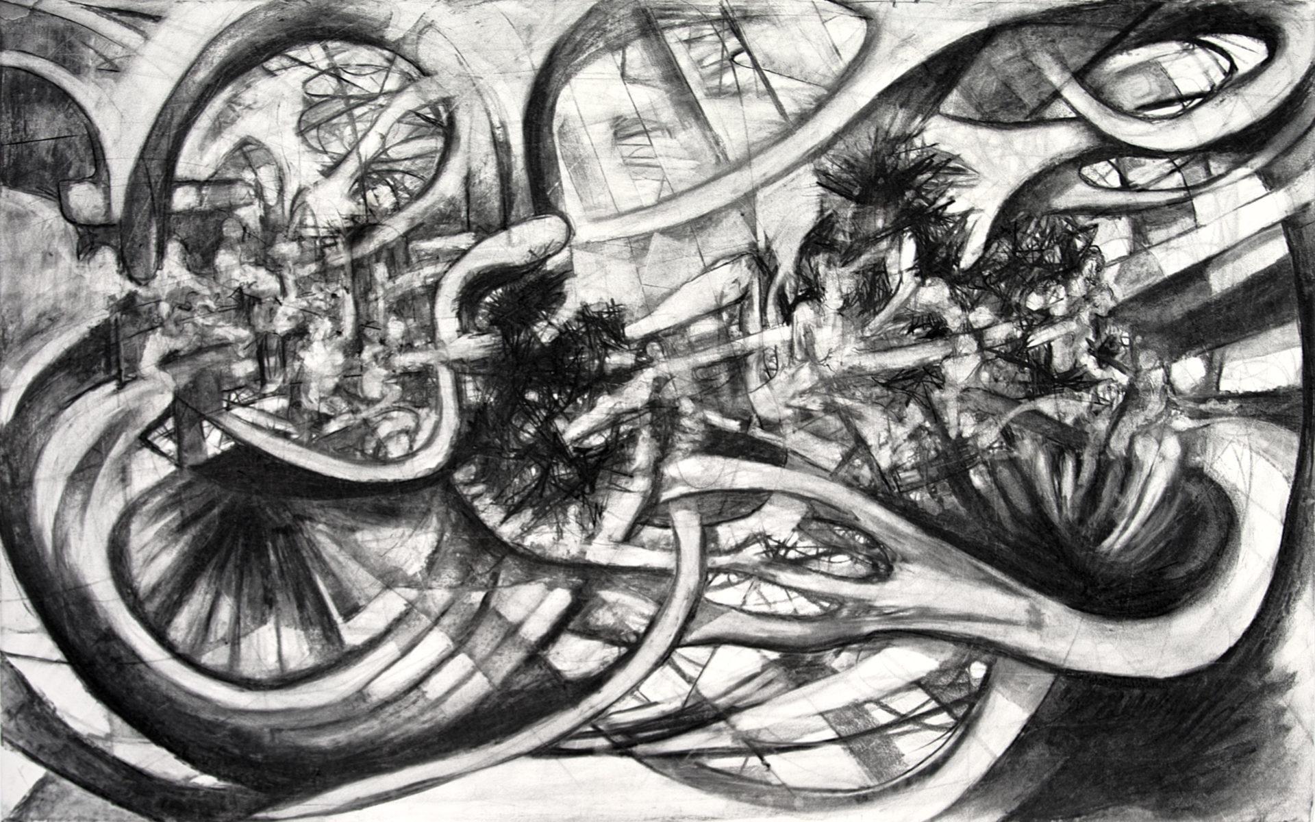 "David le Viseur, ""F.U.C.K. (The Night Schlingensief Died)"", Charcoal on Paper, 160x100cm, 2010"