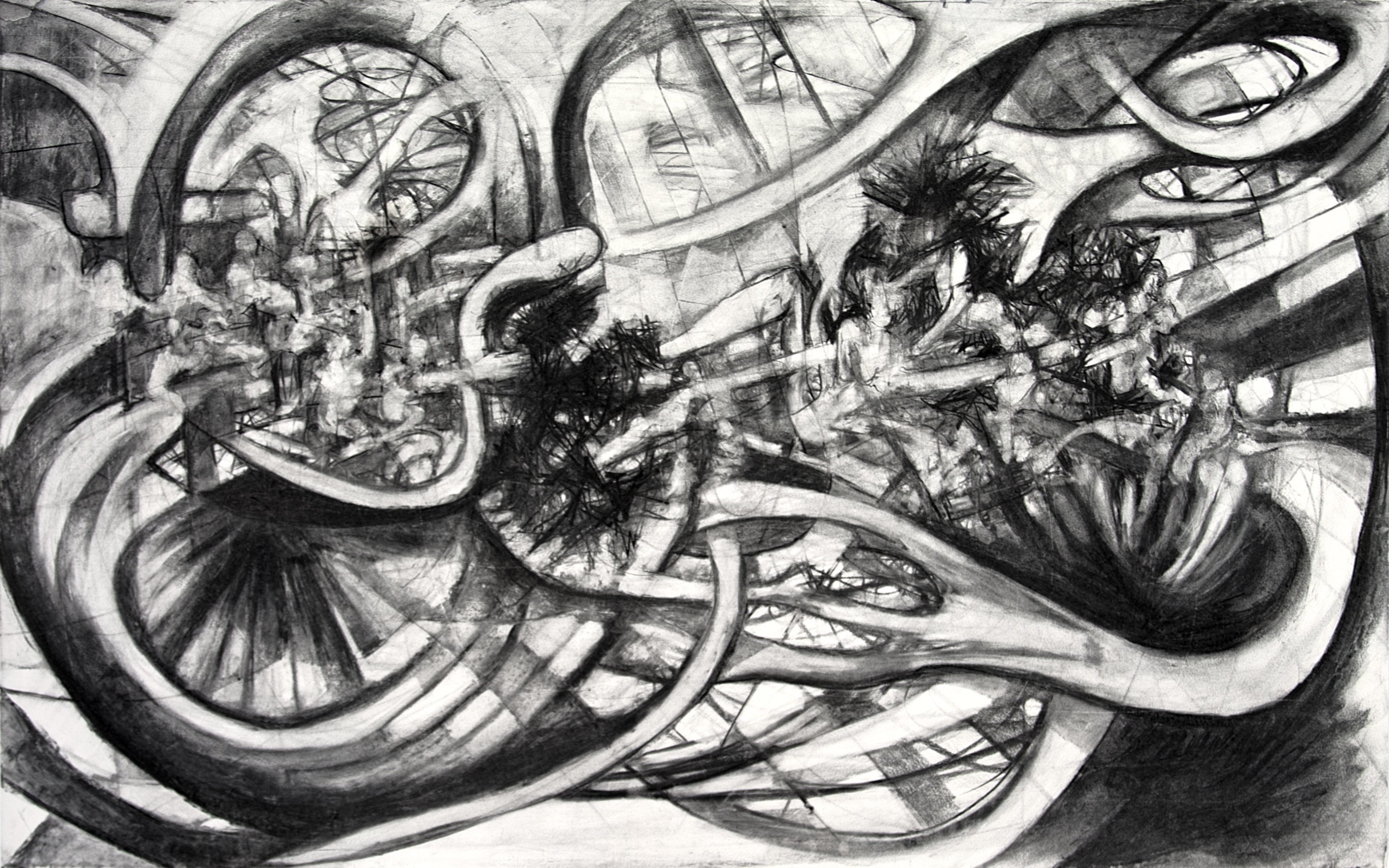 "David le Viseur, ""F.U.C.K. (The Night Schlingensief Died)"", Charcoal on Paper, 160x100cm, 2010"